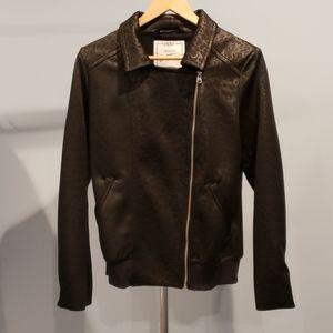 Lorna Jane black leopard print moto jacket - sz M